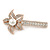 Large Glass Pearl, Clear Crystal Flower Hair Beak Clip/ Concord Clip In Rose Gold Tone - 85mm L - view 7
