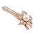 Large Glass Pearl, Clear Crystal Flower Hair Beak Clip/ Concord Clip In Rose Gold Tone - 85mm L - view 8