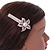 Large Glass Pearl, Clear Crystal Flower Hair Beak Clip/ Concord Clip In Rose Gold Tone - 85mm L - view 3