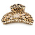 Large Gold Tone Animal Print Acrylic Hair Claw/ Clamp (Black/ Sand) - 95mm Long