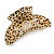 Large Gold Tone Animal Print Acrylic Hair Claw/ Clamp (Black/ Sand) - 95mm Long - view 2