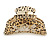 Large Gold Tone Animal Print Acrylic Hair Claw/ Clamp (Black/ Sand) - 95mm Long - view 7
