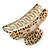 Large Gold Tone Animal Print Acrylic Hair Claw/ Clamp (Black/ Sand) - 95mm Long - view 5