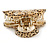 Large Gold Tone Animal Print Acrylic Hair Claw/ Clamp (Black/ Sand) - 95mm Long - view 6