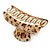 Large Gold Tone Animal Print Acrylic Hair Claw/ Clamp (Brown/ Beige) - 95mm Long - view 4