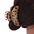 Large Gold Tone Animal Print Acrylic Hair Claw/ Clamp (Brown/ Beige) - 95mm Long - view 3