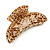 Large Gold Tone Animal Print Acrylic Hair Claw/ Clamp (Brown/ Sand) - 95mm Long