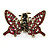 Vintage Inspired Magenta Crystal Butterfly with Mobile Wings Hair Claw In Antique Gold Tone - 85mm Across - view 7