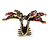 Vintage Inspired Magenta Crystal Butterfly with Mobile Wings Hair Claw In Antique Gold Tone - 85mm Across - view 6