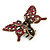 Vintage Inspired Magenta Crystal Butterfly with Mobile Wings Hair Claw In Antique Gold Tone - 85mm Across - view 9