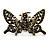 Vintage Inspired Black Crystal Butterfly with Mobile Wings Hair Claw In Antique Gold Tone - 85mm Across