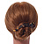 Tortoise Shell Effect Curved Acrylic Hair Beak Clip/ Concord Clip (Brown/ Yellow) - 10cm Across - view 2