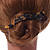 Tortoise Shell Effect Curved Acrylic Hair Beak Clip/ Concord Clip (Brown/ Yellow) - 10cm Across - view 3