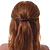 Medium Clear Crystal Acrylic Barrette Hair Clip Grip (Brown) - 75mm Across - view 2