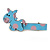 Children's/ Teen's / Kid's Light Blue/ Pink Donkey Acrylic Hair Beak Clip/ Concord Clip/ Clamp Clip In Silver Tone - 50mm L
