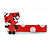 Children's/ Teen's / Kid's Red/ White Kitty Acrylic Hair Beak Clip/ Concord Clip/ Clamp Clip In Silver Tone - 50mm L