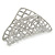 Large Crystal Square Pattern Hair Claw In Rhodium Plating - 90mm Across