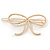 Gold Plated Faux Pearl Open Bow Hair Slide/ Grip - 60mm Across - view 6