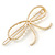 Gold Plated Faux Pearl Open Bow Hair Slide/ Grip - 60mm Across