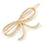 Gold Plated Faux Pearl Open Bow Hair Slide/ Grip - 60mm Across - view 4