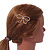 Gold Plated Faux Pearl Open Bow Hair Slide/ Grip - 60mm Across - view 2