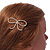 Gold Plated Faux Pearl Open Bow Hair Slide/ Grip - 60mm Across - view 3