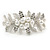 Large Bright Silver Tone Matt Diamante Faux Pearl Floral Barrette Hair Clip Grip - 90mm Across - view 2