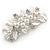 Large Bright Silver Tone Matt Diamante Faux Pearl Floral Barrette Hair Clip Grip - 90mm Across - view 7