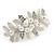 Large Bright Silver Tone Matt Diamante Faux Pearl Floral Barrette Hair Clip Grip - 90mm Across