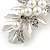 Large Bright Silver Tone Matt Diamante Faux Pearl Floral Barrette Hair Clip Grip - 90mm Across - view 5