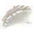 Large Bright Silver Tone Matt Diamante Faux Pearl Floral Barrette Hair Clip Grip - 90mm Across - view 6