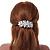 Large Bright Silver Tone Matt Diamante Faux Pearl Floral Barrette Hair Clip Grip - 90mm Across - view 3