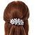 Large Bright Silver Tone Matt Diamante Faux Pearl Floral Barrette Hair Clip Grip - 90mm Across - view 4