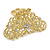 Medium Clear Crystal Floral Filigree Hair Claw In Matte Gold Tone - 70mm Across - view 8