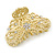 Medium Clear Crystal Floral Filigree Hair Claw In Matte Gold Tone - 70mm Across - view 2