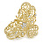 Medium Clear Crystal Floral Filigree Hair Claw In Matte Gold Tone - 70mm Across - view 6