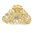 Medium Clear Crystal Floral Filigree Hair Claw In Matte Gold Tone - 70mm Across - view 7