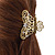 Medium Clear Crystal Floral Filigree Hair Claw In Matte Gold Tone - 70mm Across - view 4