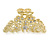 Medium Clear Crystal Floral Filigree Hair Claw In Matte Gold Tone - 75mm Across - view 7