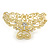 Medium Clear Crystal Floral Filigree Hair Claw In Matte Gold Tone - 75mm Across - view 6