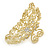 Medium Clear Crystal Floral Filigree Hair Claw In Matte Gold Tone - 75mm Across - view 4