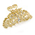 Medium Clear Crystal Floral Filigree Hair Claw In Matte Gold Tone - 75mm Across - view 8