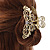 Medium Clear Crystal Floral Filigree Hair Claw In Matte Gold Tone - 75mm Across - view 3