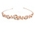 Bridal/ Wedding/ Prom Rose Gold Tone Clear Crystal, White Glass Flowers & Leaves Tiara Headband - view 4