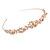 Bridal/ Wedding/ Prom Rose Gold Tone Clear Crystal, White Glass Flowers & Leaves Tiara Headband