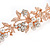 Bridal/ Wedding/ Prom Rose Gold Tone Clear Crystal, White Glass Flowers & Leaves Tiara Headband - view 5
