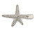 Clear Crystal Starfish Hair Beak Clip/ Concord Clip/ Clamp Clip In Silver Tone - 65mm L - view 4