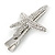 Clear Crystal Starfish Hair Beak Clip/ Concord Clip/ Clamp Clip In Silver Tone - 65mm L - view 5