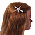 Clear Crystal Starfish Hair Beak Clip/ Concord Clip/ Clamp Clip In Silver Tone - 65mm L - view 2