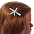 Clear Crystal Starfish Hair Beak Clip/ Concord Clip/ Clamp Clip In Silver Tone - 65mm L - view 3